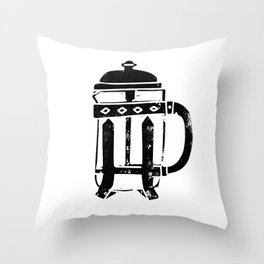 French Press Linocut black and white minimal coffee food printmaking Throw Pillow