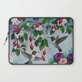 Hummingbirds in Fuchsia Flower Garden Laptop Sleeve