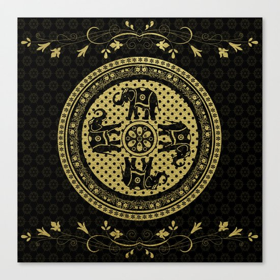 Indian Elephants Flourish Black Gold Canvas Print