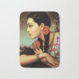 Mexican Calendar Girl in Profile by Jesus Helguera Bath Mat
