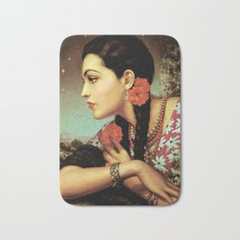 Mexican Calendar Girl in Profile by Jesus Helguera Bath Mat