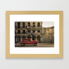 Vintage red american car, on the streets of La Havana, Cuba Framed Art Print