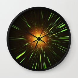 Glowing gold-red shpere with rays of light Wall Clock