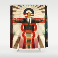 obama Shower Curtains featuring Obama Care by BradleyDean