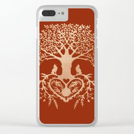 Rose Gold foil Tree of Life with Heart Roots Clear iPhone Case