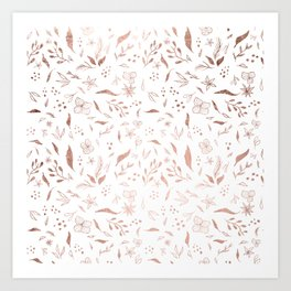 Modern rose gold christmas illustration pattern  Art Print