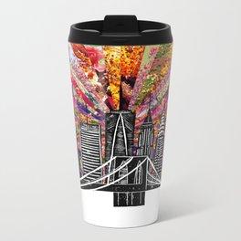Linocut New York Blooming Metal Travel Mug