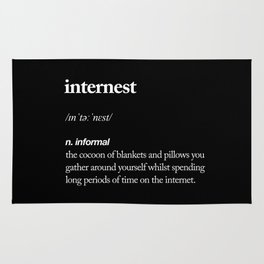 Internest black and white modern typography quote bedroom poster wall art home decor Rug
