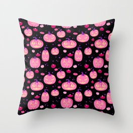 Cat o Lanterns in black and pink Throw Pillow