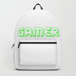 Video Game Gamer font green saying gift online Backpack