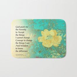 Serenity Prayer Peony Yellow Turquoise Bath Mat