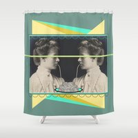 pasta Shower Curtains featuring Ladies without the Tramp  by AmDuf