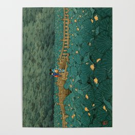 Vintage Japanese Woodblock Print Kawase Hasui Japanese Children Lotus Flowers Garden Wooden Bridge Poster