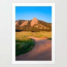 Sunrise In Boulder, Colorado With Path (Chautauqua State Park, Portrait) Art Print