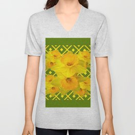 Moss Green Yellow Spring Daffodils Art Unisex V-Neck