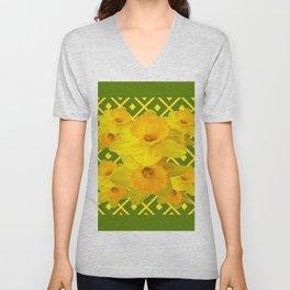 Moss Green Yellow Spring Daffodils Art Unisex V-Neck