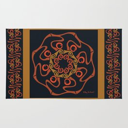 Hope Mandala with Border - Brown Black Rug