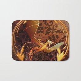Gold Dragon Emblem on Faux Leather Bath Mat