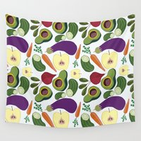 vegetables Wall Tapestries featuring vegetables by Aina Bestard