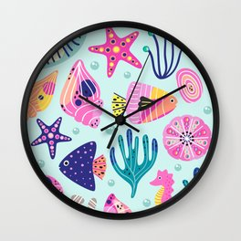 Seashells Seahorses Starfish Beach Wall Clock