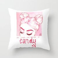 candy Throw Pillows featuring Candy  by Laia™