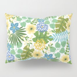 Tropical Blue and Yellow Floral, Light Pillow Sham