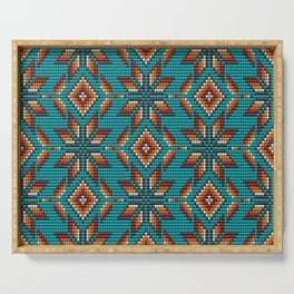 Modern colorful beaded boho aztec kilim pattern on teal Serving Tray