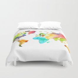 Watercolor World Duvet Cover