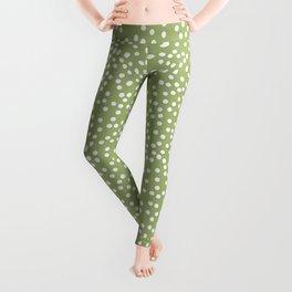 Leaf Green and White Polka Dot Pattern Leggings