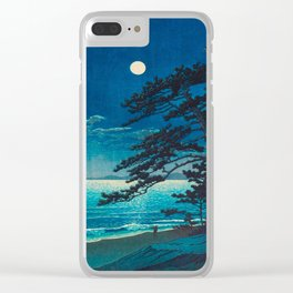 Vintage Japanese Woodblock Print Moonlight Over Ocean Japanese Landscape Tall Tree Silhouette Clear iPhone Case