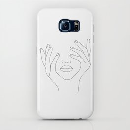 Minimal Line Art Woman with Hands on Face iPhone Case