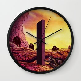 Ape Men meet Monolith - 2001 A Space Odyssey Wall Clock