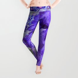 LION AND ORCHIDS  PURPLE AND BLUE FANTASY DREAM Leggings