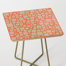 abstract cells pattern in orange and beige Side Table