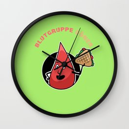 """Blood drops blood group D"""" ner Wall Clock"""