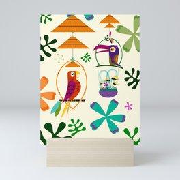 Vintage Modern Tiki Birds Mini Art Print