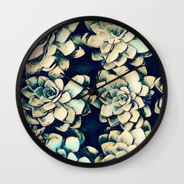 Vibrant Green Succulent Cactus Flower Art Print  Wall Clock