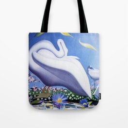 White Swans and Calla Lilies floral landscape painting by Joseph Stella Tote Bag