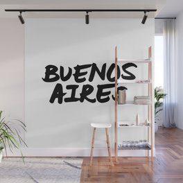 Buenos Aires Argentina Hand Letter Type Word Black & White Wall Mural