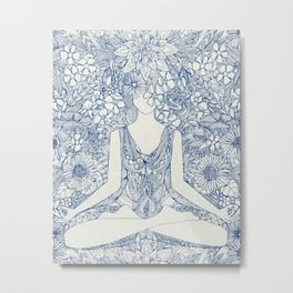lotus garden vintage blue Metal Print