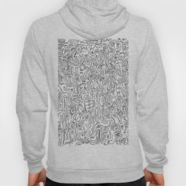 Graffiti Black and White Pattern Doodle Hand Designed Scan Hoody