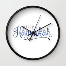 Happy Hanukkah | Blue Glitter Wall Clock