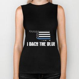 Oklahoma Police Appreciation Thin Blue Line I Back The Blue 2 Biker Tank