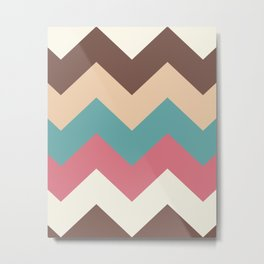 Vintage Chevron Pattern – Red Yellow Blue and Brown Metal Print