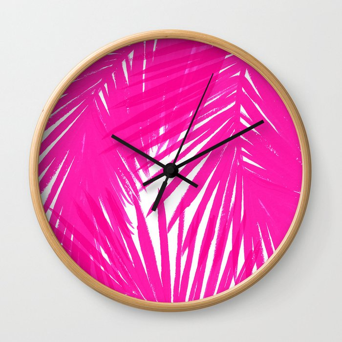 Palms Fuchsia Wall Clock