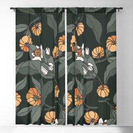 citrus bergamia branch - vintage engraved style. Blackout Curtain