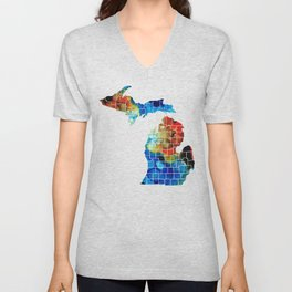 Michigan State Map - Counties by Sharon Cummings Unisex V-Neck