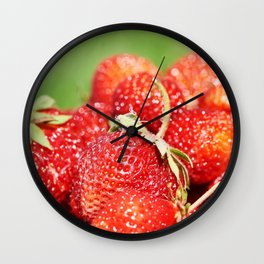 Plate with strawberry Wall Clock