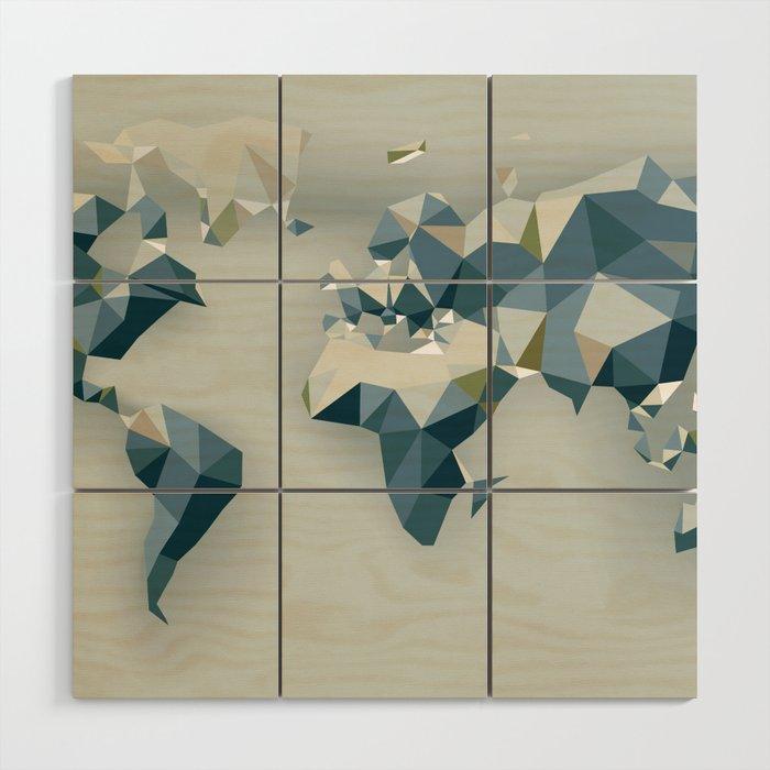 low poly world map Wood Wall Art by anilyanik