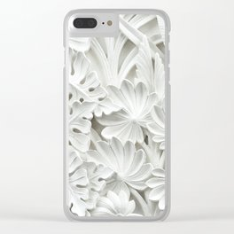 White leaf, plants background Clear iPhone Case